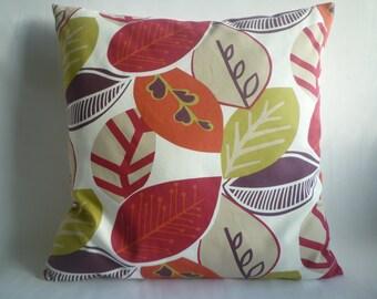 "BIG 20"" Pillow Cover Euro Sham Aubergine Raspberry Red Green Floral Designer Cotton Cushion Cover.Pillowcase Sham Slip"