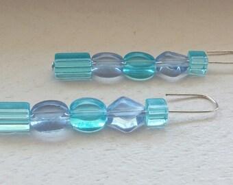 Translucent Blue Turquoise Glass Beaded Earrings