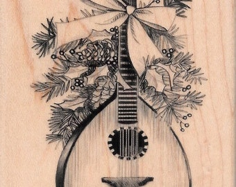 Christmas Mandolin Stamp  --  NEW  -- Wood Mounted Rubber Stamp -- Inkadinkado Brand --  (#1665)