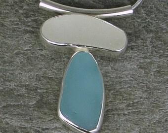 Aqua and Frosty White Sea Glass Bezel Pendant necklace