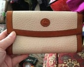 ON RESERVE Vintage Dooney and Bourke Wallet Leather Wallet White With Tan Trim USA