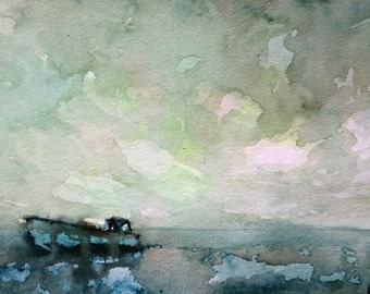 Dungeness Green 1; Original Watercolour Painting