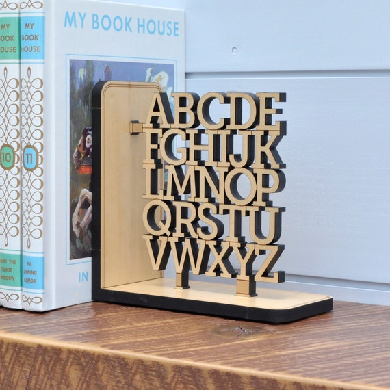 Wooden Alphabet Bookend Kids Children ABC Letters Nursery