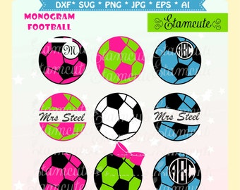 football Monogram svg cutting file, sport soccor clip art, vector olympic clip art, soccer ball monograme frame, SVG cut files frame
