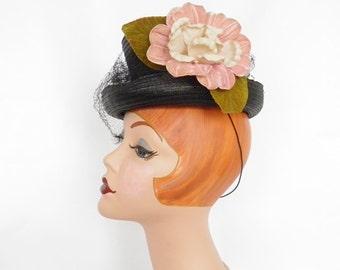 1930s 1940s tilt hat, black percher steampunk, NY Creation