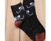 Cozy Elephant Wool Socks in Black