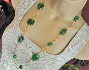 Emerald Green and Gold Venetian Murano Glass Long Necklace and Earring Set