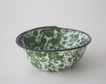 Vintage Green Enamel Bowl
