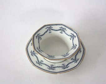 Vintage Blue and White Limoges Porcelain Bowl and Dish