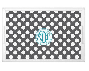 Polka Dot Pattern Tray - Wedding Shower Brunch Tray -  Housewarming Gift Tray - Custom Pattern Design with Monogram - Party Decor