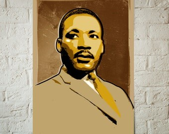 Martin Luther King Jr, portrait illustration, Poster size art print available in multiple sizes.