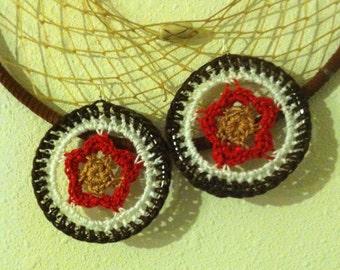 Earthy Wildflower crochet circle gypsy earrings in red brown white amber / large mandala dangle earrings / boho jewelry