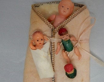 Antique Celluloid Baby Dolls in Bunting & Mini Roly Poly lot