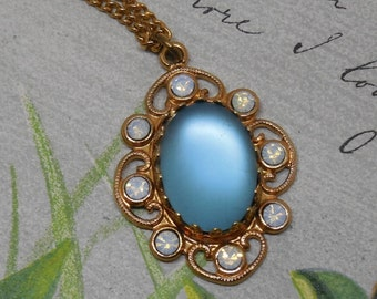Blue Iridescent Moonglow Cabochon Pendant/Brooch & Matching Earrings Set