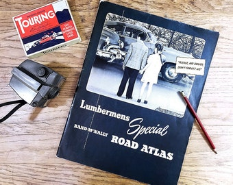 Vintage Road Atlas, Travel Book Large Lumbermens Special Road Map for Automobiles; Americana Industrial Decor