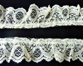 Ruffle Lace Trim Ecru Vintage 1980's Gathered Lace Yardage