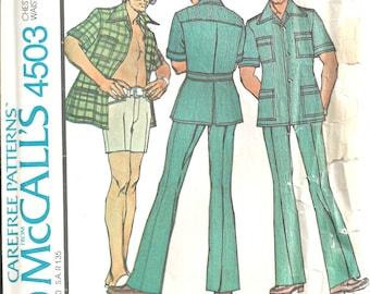 Mens Leisure Suit Pattern Size 34 McCalls 4503 Shirt Jacket Pants, Shorts 1970s