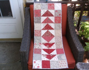 Quilted flying geese table runner coral and cream flying geese handmade