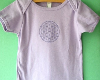 Limited Edition Flower of Life Screenprinted American Apparel lilac toddler T 18-24 Months