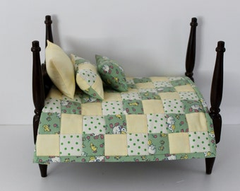 Small doll quilt sheet pillows for 7 to 12 inch dolls green yellow white reversible