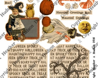 Vintage Halloween Pumpkin Candy Witch Boot Victorian Digital Collage sheet Printable DIY Tags