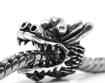 10 pcs Antique Silver Dragon Head European Spacer Charm Beads - 13mm x 11mm - Hole Size: 5mm - Fits European Cords and Paracord!