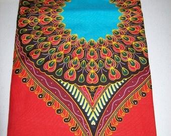 Red Peacock dashiki fabric per panel/ Angelina fabric/ Addis Ababa fabric/ Dashiki/ African Decor/dashiki dress/ Dashiki skirt