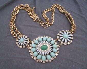 rhinestone necklace, rhinestone jewelry, mint green necklace, statement necklace, statement jewelry, bib necklace, pendant necklace