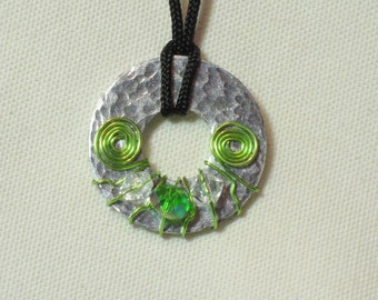 Metal Washer Pendant, Metal Washer Necklace, Beaded Metal Necklace, Wire Wrapped Washer