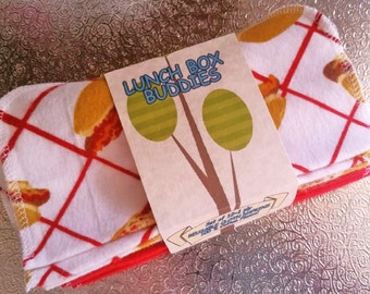 "12~~""LUNCH BOX BUDDIES""~Kids Cloth Lunch Box Napkins~Hot Dogs~Baseball Game~Summer Red Lunch Napkins~7""x7""-1 ply Unpaper Towels~Tissues"