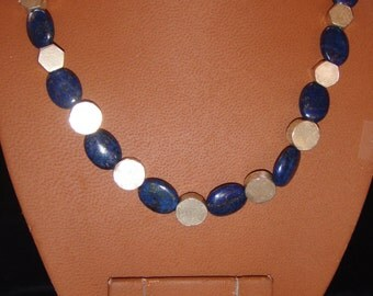 Lapis and German Silver Necklace and Earring Set
