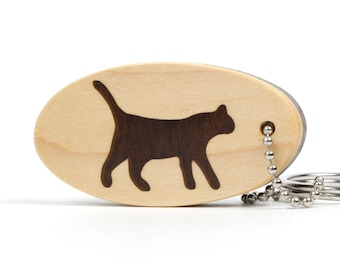 Walking Cat Key Chain Wood Cat Key Ring Scroll Saw Cat Key Fob Pet Key Chain Kitty Key Holder Walnut