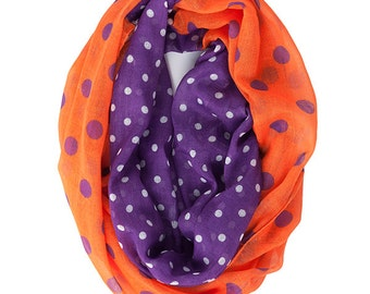 Clemson Tiger Scarf - Gameday Infinity Scarf - Orange and Purple Polka Dot Scarf