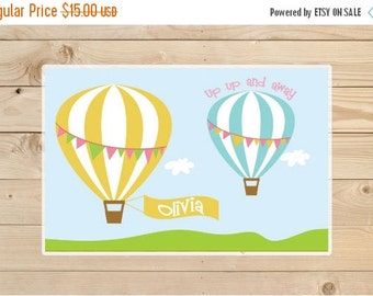 ON SALE Kids-Personalized-Placemat--Personalised-Hot-air-balloon-Placemat