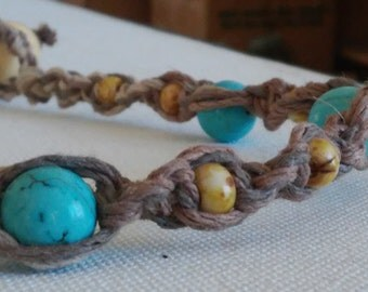hemp choker/hemp necklace/macrame/hippie necklace/hippie jewelry/beaded choker