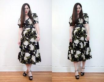 Vintage Floral Garden Tea Dress Grunge Revival 90s Maxi Dress