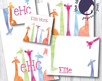 Colorful Watercolor Giraffe Silhouette Stationery | Thank You Note | Note Card | Enclosure Card | Monogram | Safari | Personalized | Custom