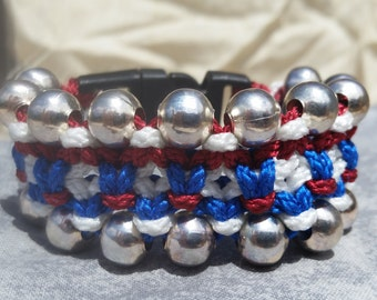 Macrame Bracelet Red, White and Blue