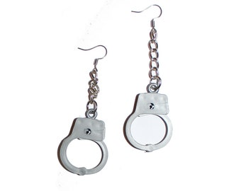Handcuff Earrings - Vintage Charms working handcuff punk earrings chain earrings bell charm vintage kitsch