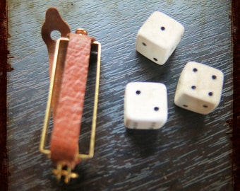 Vintage French Pendant with 3 miniature game dice - Vintage Jewelry pendant from France for repurposed projects