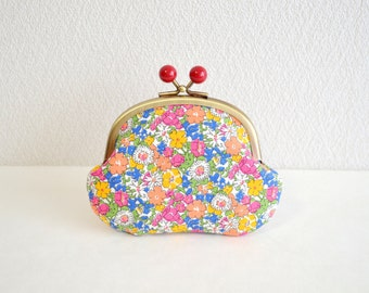 Liberty retro daisy floral coin purse - blue, orange, pink. Handmade in Japan. Ready to ship. Frame purse with red acrylic balls.