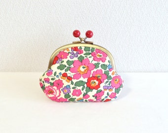 232-Red and Pink floral Candy coin purse with Liberty betsy fabric - Frame purse. Retro. Clasp purse. Magenta. Red acryl balls.