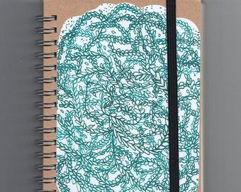 A6 Spiral Notebook //Green Leaves Mandala Pattern Journal //Kraft Vegan Recycled Paper