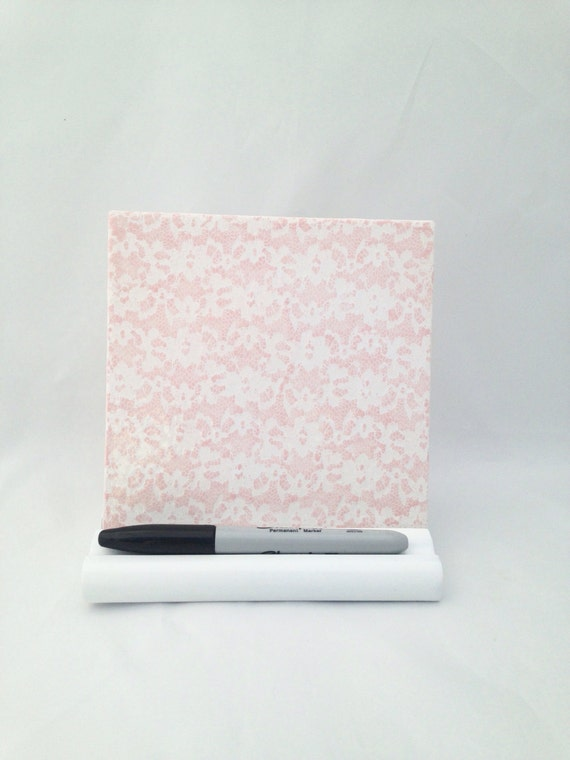 pink lace ceramic tile dry erase board with stand and dry. Black Bedroom Furniture Sets. Home Design Ideas