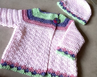 Baby Girl Crochet Sweater with Hat, Crocheted Little Girls Sweater, Baby's Size 12 Months Cardigan Sweater