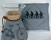 Chemex Cozy and Warming Pad-Vintage Bicycles-Gray Duck Cloth -3 6,8,10  cup size with wooden collar or glass handle