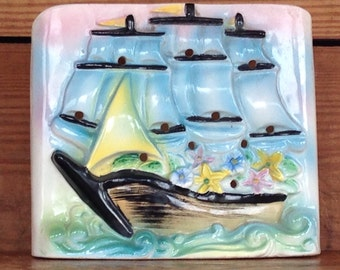 Vintage 1960's Antique Pastel Pottery Sailboat or Schooner Wall Pocket Planter with Runner Holes