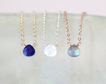 Tiniest Dainty Gemstone Teardrop Necklace // 14K Gold Filled / Rose Gold / Sterling Silver / Custom Chain // wedding layering jewelry