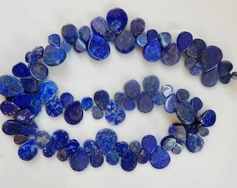 Lapis lazuli , smooth teardrop briolette beads small and big teardrop combined ((8-16mmx6-13mm, lapis lazuli teardrop