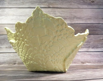 Lemon Yellow crocheted doily bowl